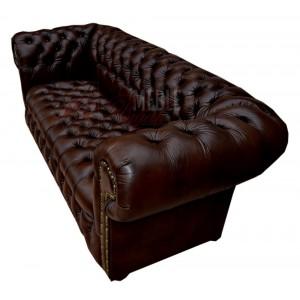 Sofa trzy-osobowa Chesterfield Classic Duo Botones pikowane siedzisko